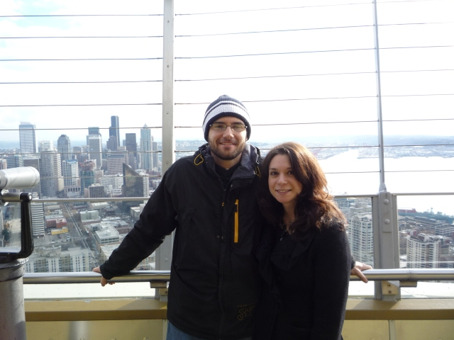 in the space needle, high above seattle! :)